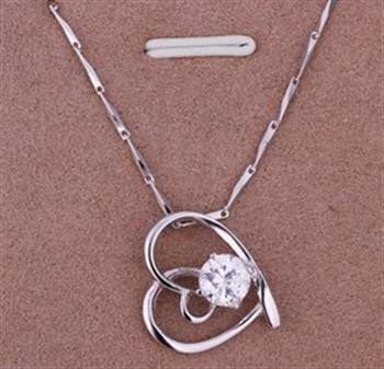 PD035 Platinum Plated Silver Necklace,necklace length approximately18~20 inches