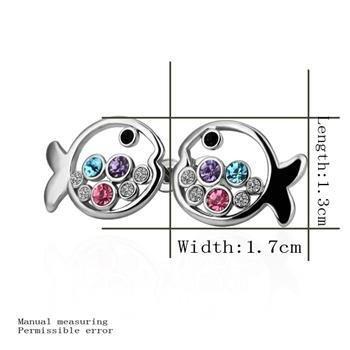 18KGP E224 Fish 18K Platinum Plated Earrings Nickel Free K Golden Jewelry Plating Platinum