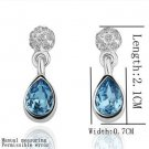 18KGP E109 18K Platinum Plated Earrings Health Jewelry Nickel Free Rhinestone
