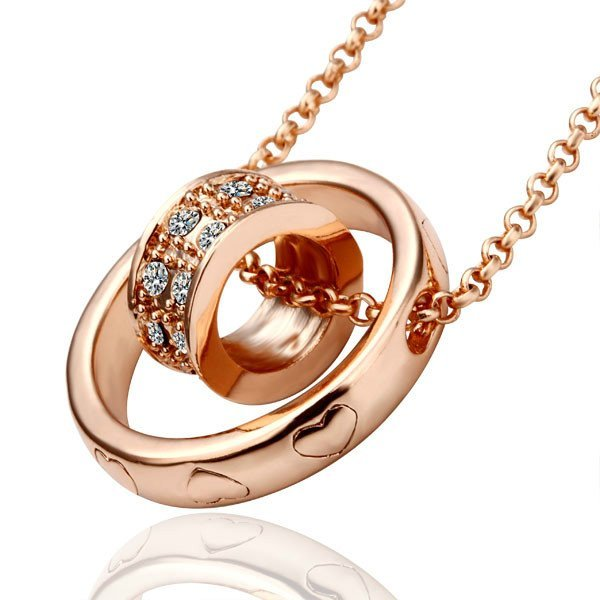 18KGP N029 Cycle Pendant 18K Gold Plated Pendants Necklace Nickel free SWA Elements