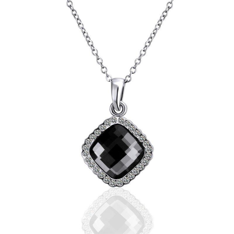 18KGP N496 Classic Black Crystal 18K Platinum Plated Nickel Free Pendant
