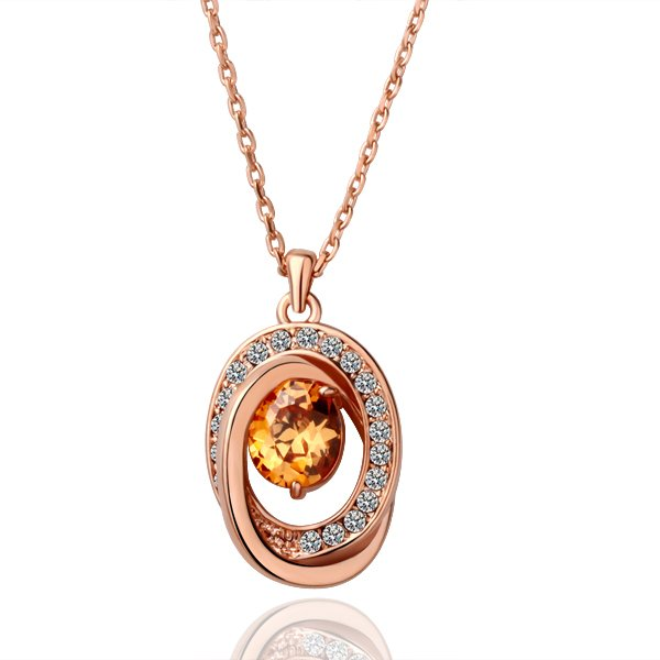 18KGP N074 Clear Crystal Necklace 18K K Gold Plated Nickel Free Necklace