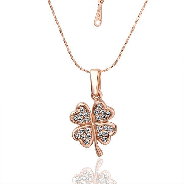 18KGP N001 Four Leaf Clover Swan Necklace 18K K Gold Plated Nickel Free Pendant SWA Elements