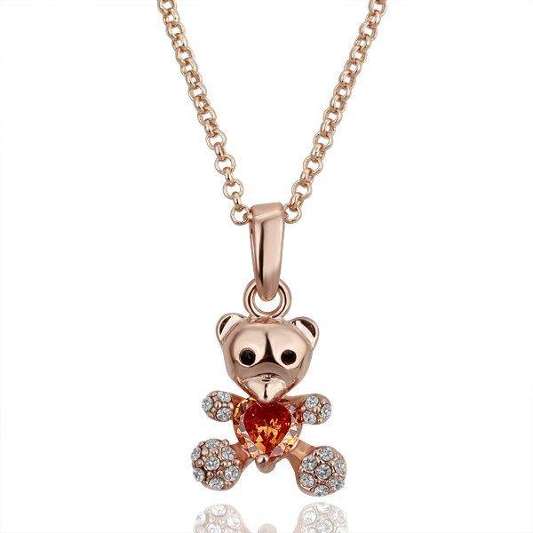 18KGP N088 Bear Pendant 18K Platinum Plated Animal Necklace Nickel Free Crystal Swa Elements