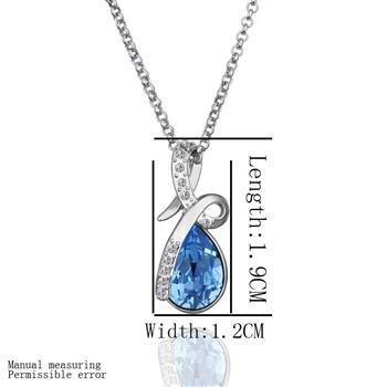 18KGP N480 Blue Crystal 18K Platinum Plated  Nickel Free Necklace Rhinestone SWA Elements