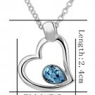 18KGP N460 Blue Crytal Heart Necklace 18K K Gold Plated Nickel Free Pendant SWA Elements