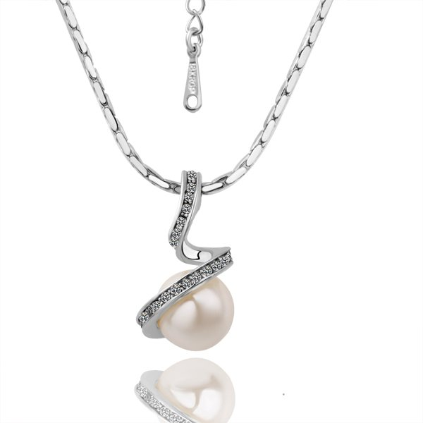 18KGP N014 Imitation Pearl Necklace 18K Platinum Plated Fashion Jewelry Nickel Free Pendant
