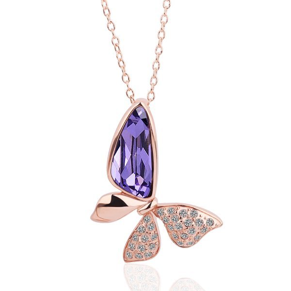 18KGP N276 Purple Butterfly Necklace 18K K Gold Plated Fashion Jewellery Nickel Free Necklace