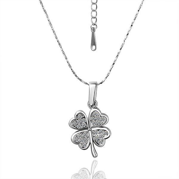 18KGP N015 Four Leaf Clover Swan Necklace 18K Platinum Plated Fashion Jewelry Nickel Free Pendant