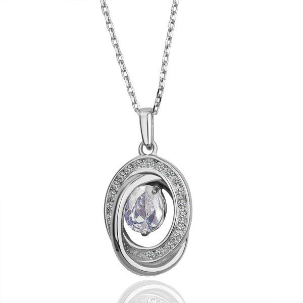 18KGP N073 Clear Crystal Fashion jewelry,18K plating platinum necklace,nickel free,