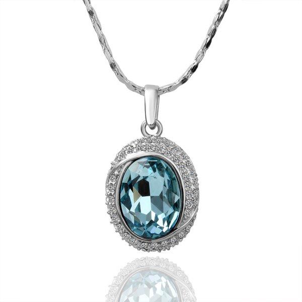 18KGP N036 Big Blue Crystal Necklace 18K Platinum Plated Fashion Jewellery Nickel Free Necklace