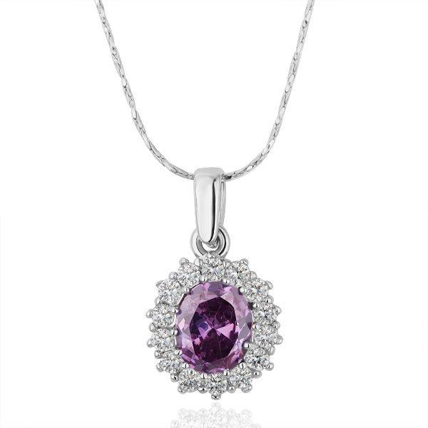 18KGP N210 Purple Crystal 18K Platinum Plated Fashion Jewelry Nickel Free Pendant