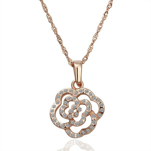18KGP N053 Flower Pendant Fashion jewelry,18K gold plated,plating platinum necklace,nickel free