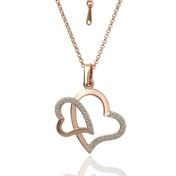 18KGP N012 Gold Two Heart Fashion Jewelry 18K Gold Plated Pendant Necklace Nickel Free