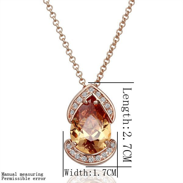18KGP N127 18K Gold Plated Plating Platinum Necklace Nickel Free Rhinestone Zicon Yellow-stone