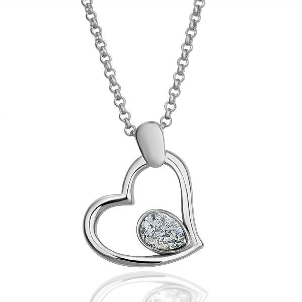 18KGP N070 Heart With Clear Crystal Fashion jewelry,18K Platinum plated necklace,nickel free