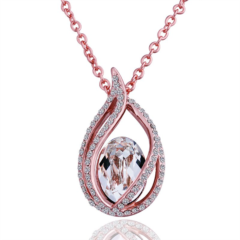 18KGP N501 Water Drop Clear Crystal 18K Gold Plated Fashion Jewelry Nickel Free Pendant