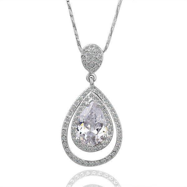 18KGP N065 Drop Jewelry 18K Platinum Plated Plating Platinum Necklace Nickel Free