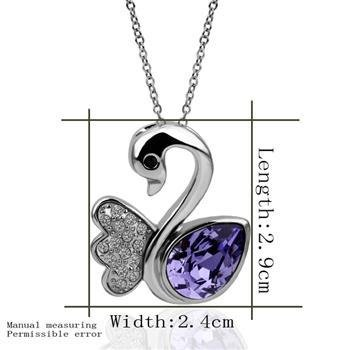18KGP N353 Purple Swan Necklace 18K Platinum Plated Fashion Jewelry Nickel Free Pendant