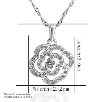 18KGP N463 Silvery Rose Necklaces 18K Platinum Plated Fashion Jewellery Nickel Free Necklace