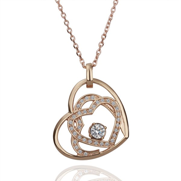 18KGP N111 Heart In Heart Necklace 18K K Gold Plated Fashion Jewellery Nickel Free Necklace