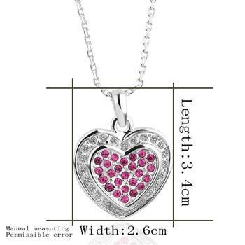 18KGP N339 Heart Necklace 18K Platinum Plated Fashion Jewelry Nickel Free Pendant