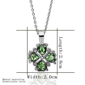 18KGP N354 Green Leaf Necklace 18K Platinum Plated Fashion Jewellery Nickel Free Pendant
