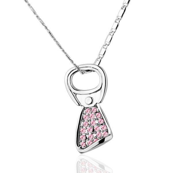 18KGP N250 Pink Cans Ring Necklace 18K Platinum Plated Fashion Jewellery Nickel Free Necklace