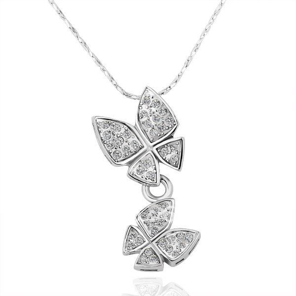 18KGP N183 Two Butterflies 18K Platinum Plated Necklace Health Jewelry Nickel Free