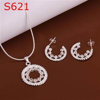 SPCS621 Factory Price! Free shipping Wholesale silver plated set fashion jewelry sets