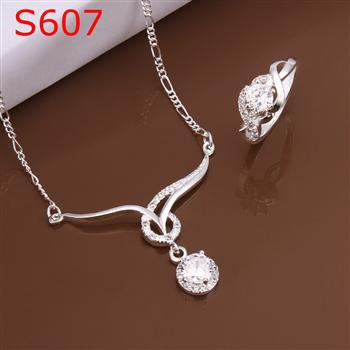 SPCS607  Factory Price! Free shipping Wholesale silver plated set fashion jewelry sets