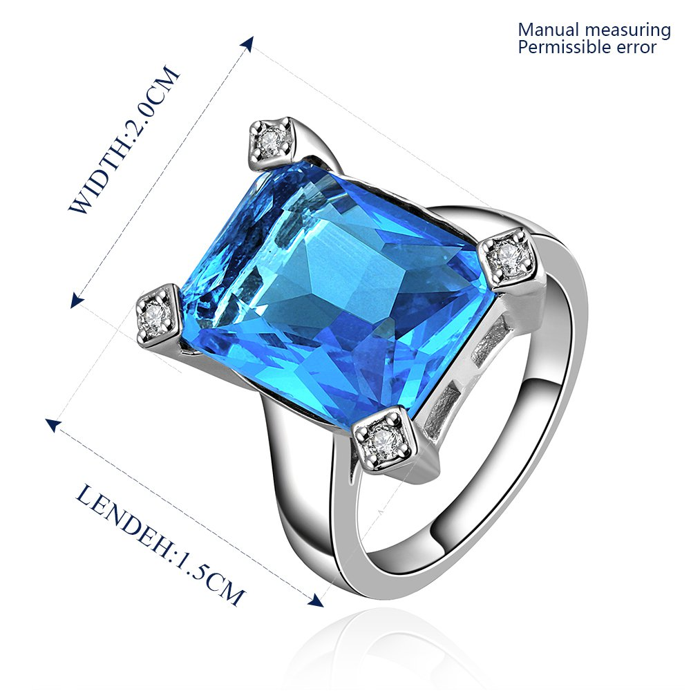 Platinum diamond shaped pure blue zircon luxury ring R017