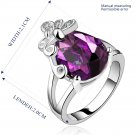 Platinum diamond shaped purple zircon luxury ring R008