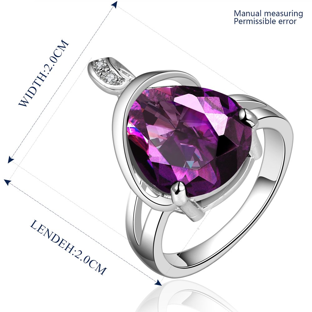 Platinum diamond shaped purple zircon luxury ring R012