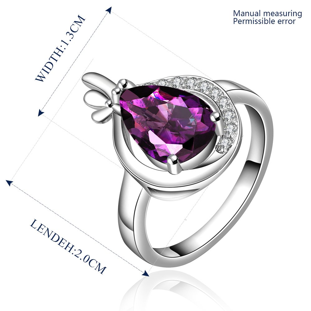 Platinum diamond shaped purple zircon luxury ring R014