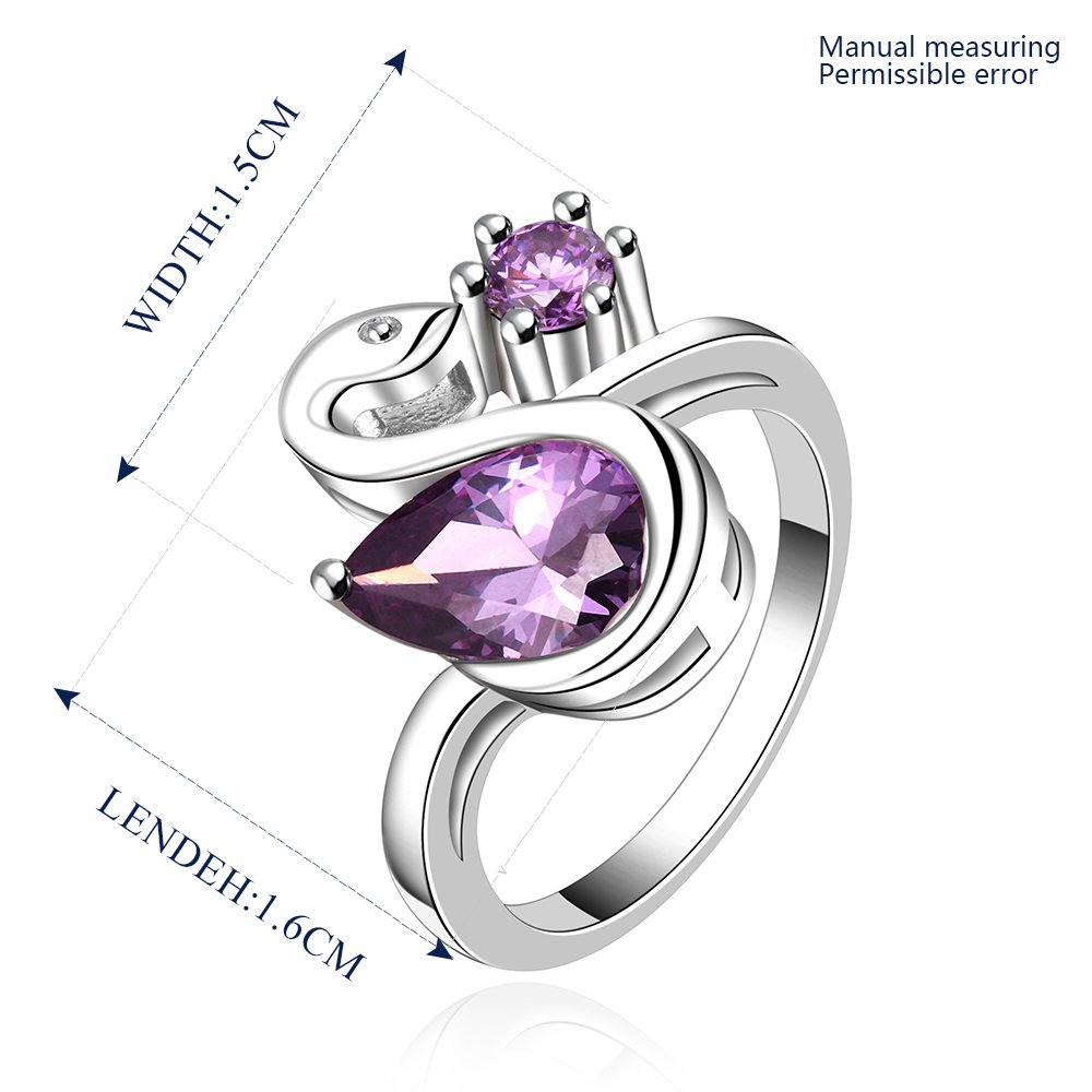 Platinum diamond shaped purple zircon luxury ring R016
