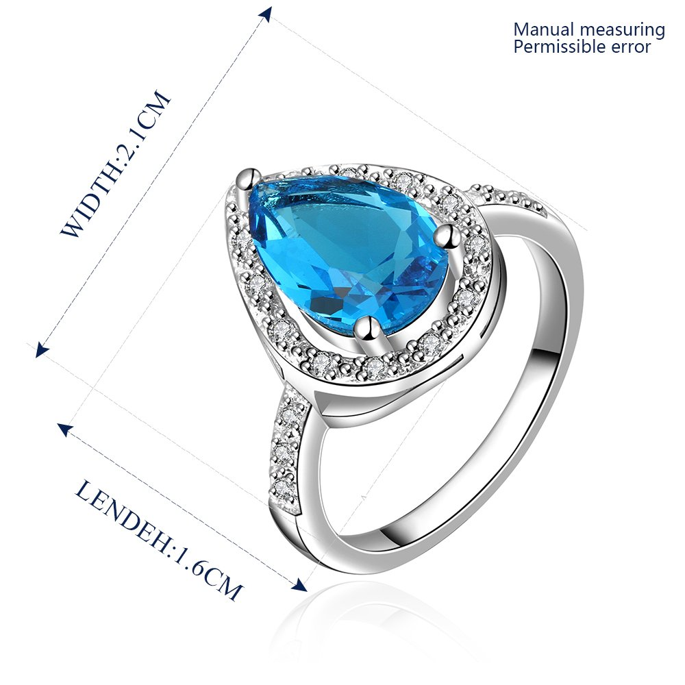 Platinum diamond shaped pure blue zircon luxury ring R015