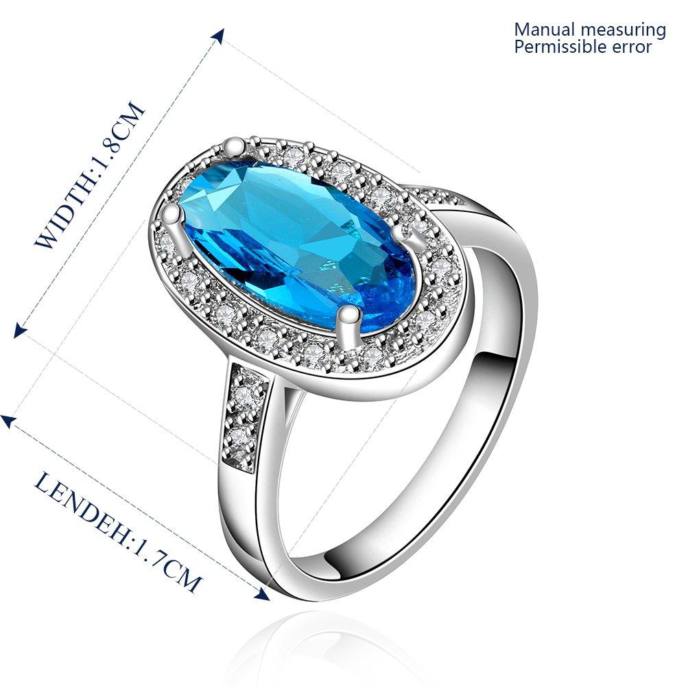 Platinum diamond shaped pure blue zircon luxury ring R003