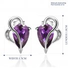 E001 Free shipping Platinum purple zircon luxury Earrings
