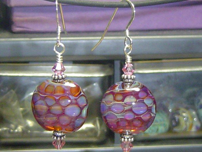 CIRCLES Lampwork Boro Glass Beads Earrings