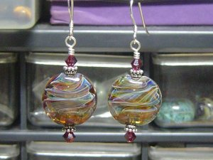 RAINBOW SWIRLS Lampwork Boro Glass Beads Earrings