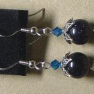 SWAROVSKI CRYSTALS & BLUE GOLDSTONE Gemstones Earrings