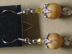 SWAROVSKI CRYSTALS & CRAZYLACE AGATE Gemstones Earrings