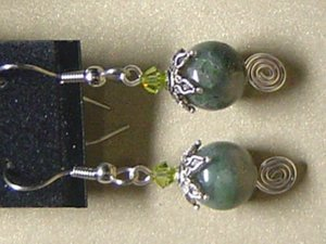 SWAROVSKI CRYSTALS & MOSS AGATE Gemstones Earrings