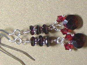 SWAROVSKI CRYSTALS & GARNET Gemstones Earrings