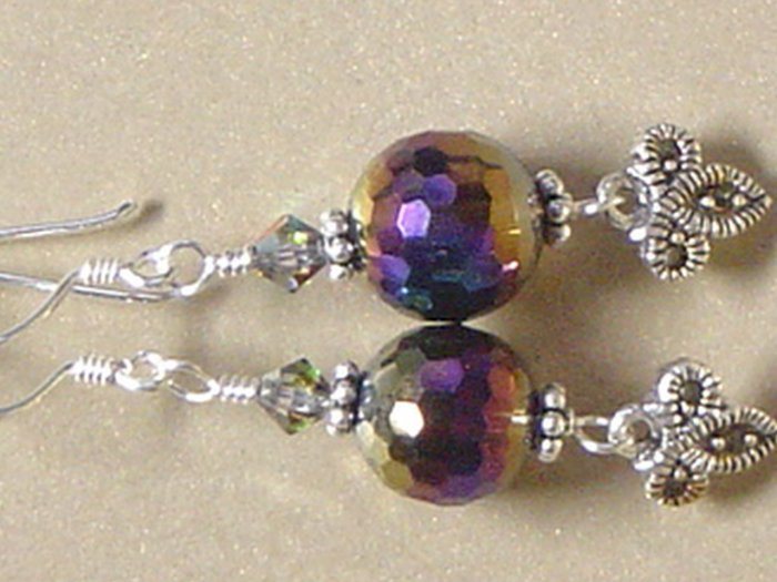 RAINBOW QUARTZ Gemstones & MARCASITE CHARM Earrings