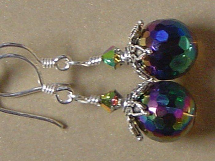 SWAROVSKI CRYSTALS & RAINBOW QUARTZ Gemstones Earrings