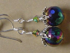 SWAROVSKI CRYSTALS & RAINBOW QUARTZ Gemstones Earrings