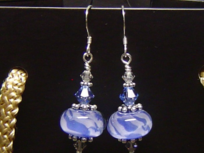 CLOUDY BLUE SKY Lampwork Glass Bead Earrings - KM