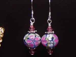 PINKY FLOWERS Lampwork Glass Beads Earrings - KM